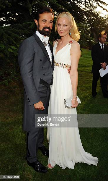 Evgeny Lebedev and Joely Richardson attends the Raisa Gorbachev Foundation Party at Stud House Hampton Court Palace on June 5 2010 in Richmond upon...