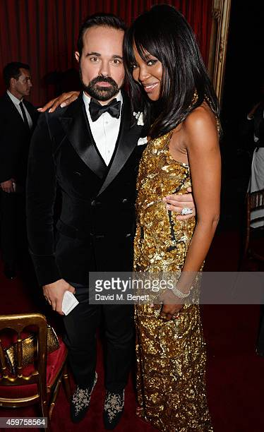 Evgeny Lebedev and Naomi Campbell attend an after party following the 60th London Evening Standard Theatre Awards at the London Palladium on November...
