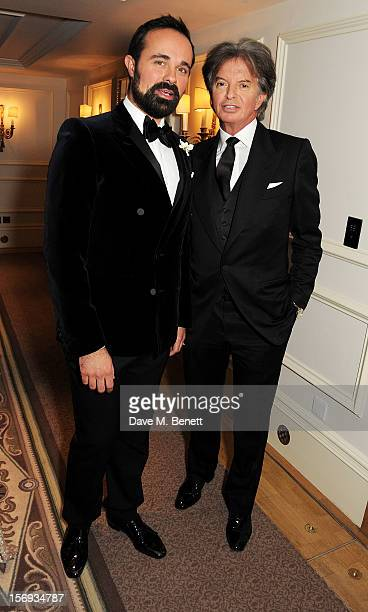 Evgeny Lebedev and Richard Caring attend a drinks reception at the 58th London Evening Standard Theatre Awards in association with Burberry at The...