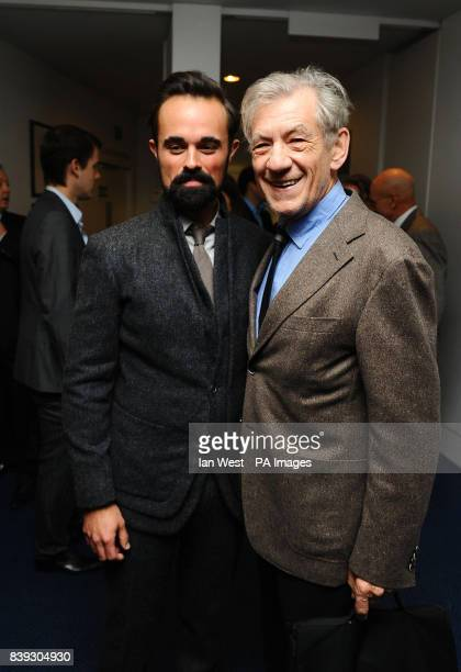 Evgeny Lebedev and Sir Ian McKellen attend a prelunch reception for the Evening Standard Theatre Awards at the Royal Opera House in Covent Garden...