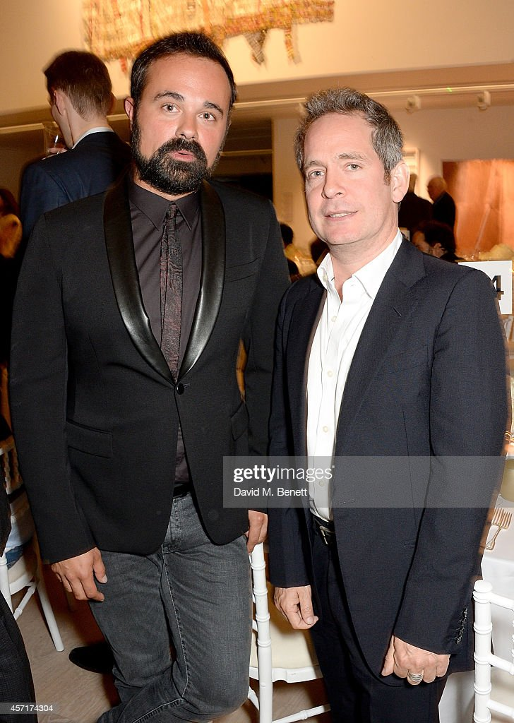 Evgeny Lebedev and Tom Hollander attend the launch party for Phillips European Headquarters at 30 Berkeley Square on October 13, 2014 in London, England.