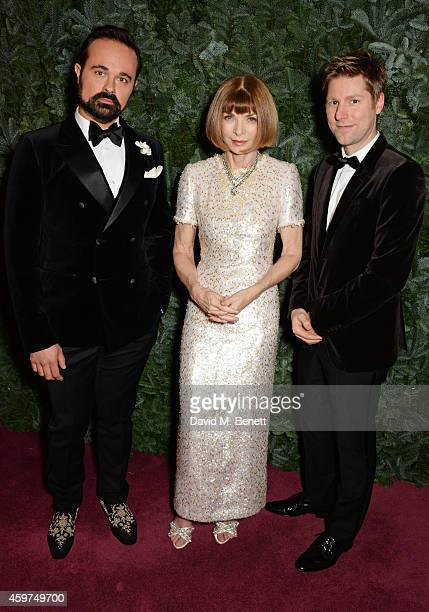 Evgeny Lebedev Anna Wintour and Christopher Bailey attend a champagne reception at the 60th London Evening Standard Theatre Awards at the London...