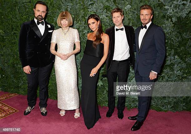 Evgeny Lebedev Anna Wintour Victoria Beckham Christopher Bailey and David Beckham attend a champagne reception at the 60th London Evening Standard...