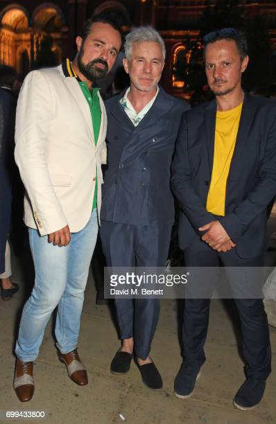 Evgeny Lebedev Baz Luhrmann and Jonathan Yeo attend the 2017 annual VA Summer Party in partnership with Harrods at the Victoria and Albert Museum on...