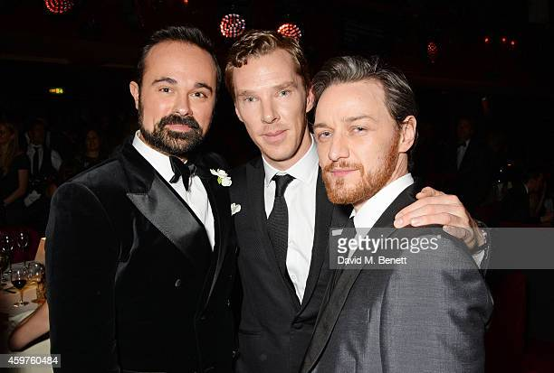 Evgeny Lebedev Benedict Cumberbatch and James McAvoy attend an after party following the 60th London Evening Standard Theatre Awards at the London...