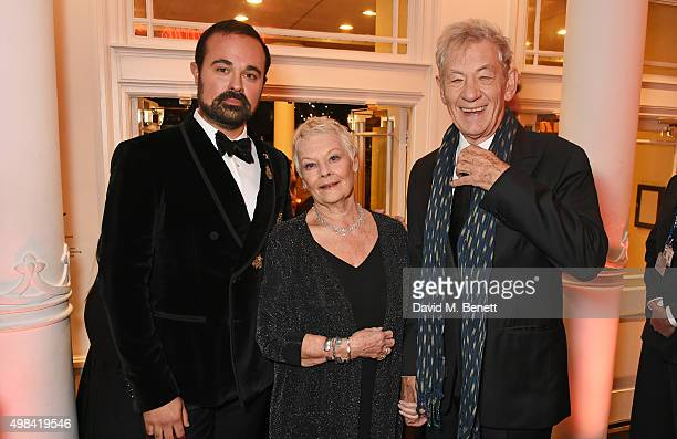 Evgeny Lebedev Dame Judi Dench and Sir Ian McKellen attend a champagne reception ahead of The London Evening Standard Theatre Awards in partnership...