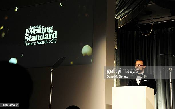 Evgeny Lebedev speaks at the 58th London Evening Standard Theatre Awards in association with Burberry at The Savoy Hotel on November 25 2012 in...