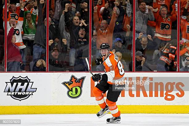 Evgeny Medvedev of the Philadelphia Flyers celebrates after scoring the gamewinning goal in the third period against the St Louis Blues at Wells...