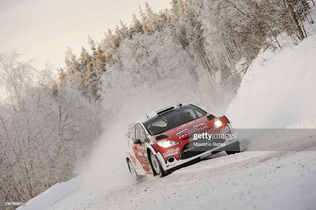 Evgeny Novikov of Russia and Denis Giraudet of France compete in their MSport Ford WRT Ford Fiesta RS WRC during Day2 of the WRC Rally Sweden on...
