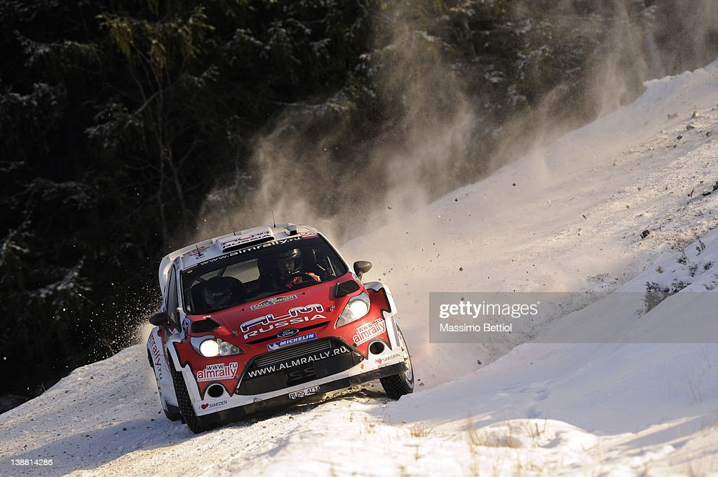 Evgeny Novikov of Russia and Denis Giraudet of France compete in their MSport Ford WRT Ford Fiesta RS WRC during Day 3 of the WRC Rally Sweden on...