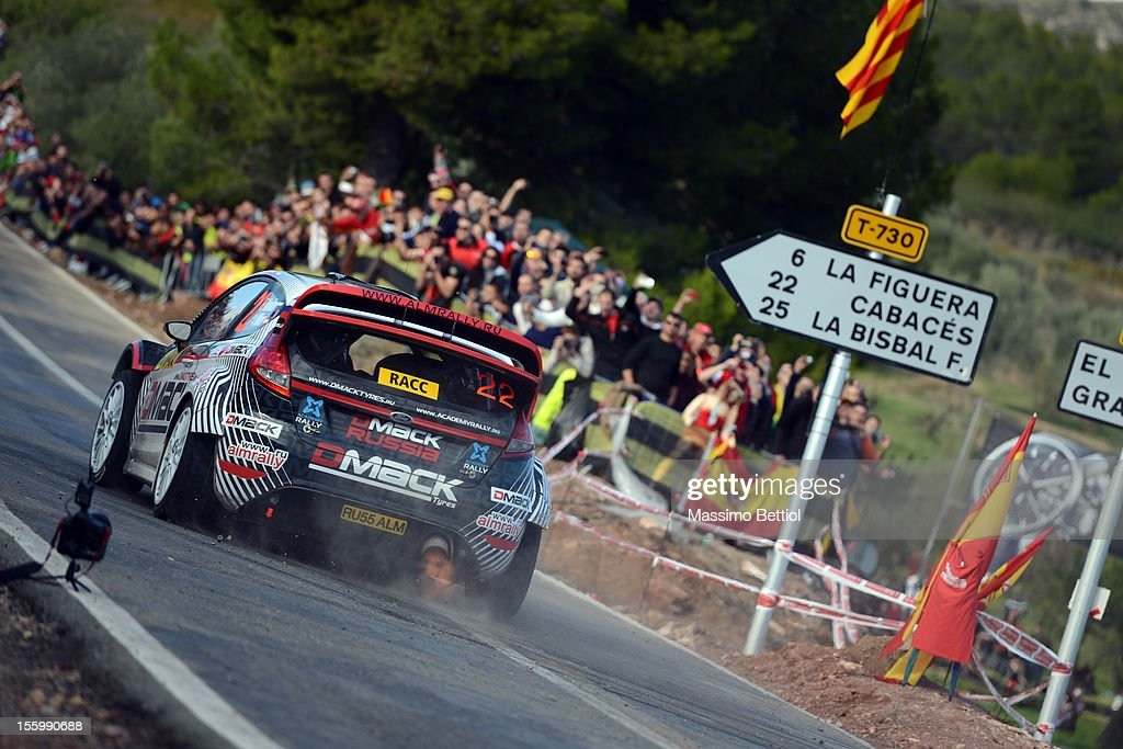 Evgeny Novikov of Russia and Ilka Minor of Austria compete in their Evgeny Novikov Ford Fiesta RS WRC during Day Two of the WRC Spain on November 10, 2012 in Salou , Spain.