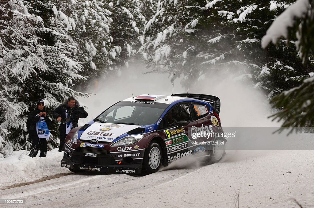 Evgeny Novikov of Russia and Ilka Minor of Austria compete in their Qatar M-Sport WRT Ford Fiesta RS WRC during the Shakedown of the WRC Sweden on February 07 , 2013 in Karlstad , Sweden.