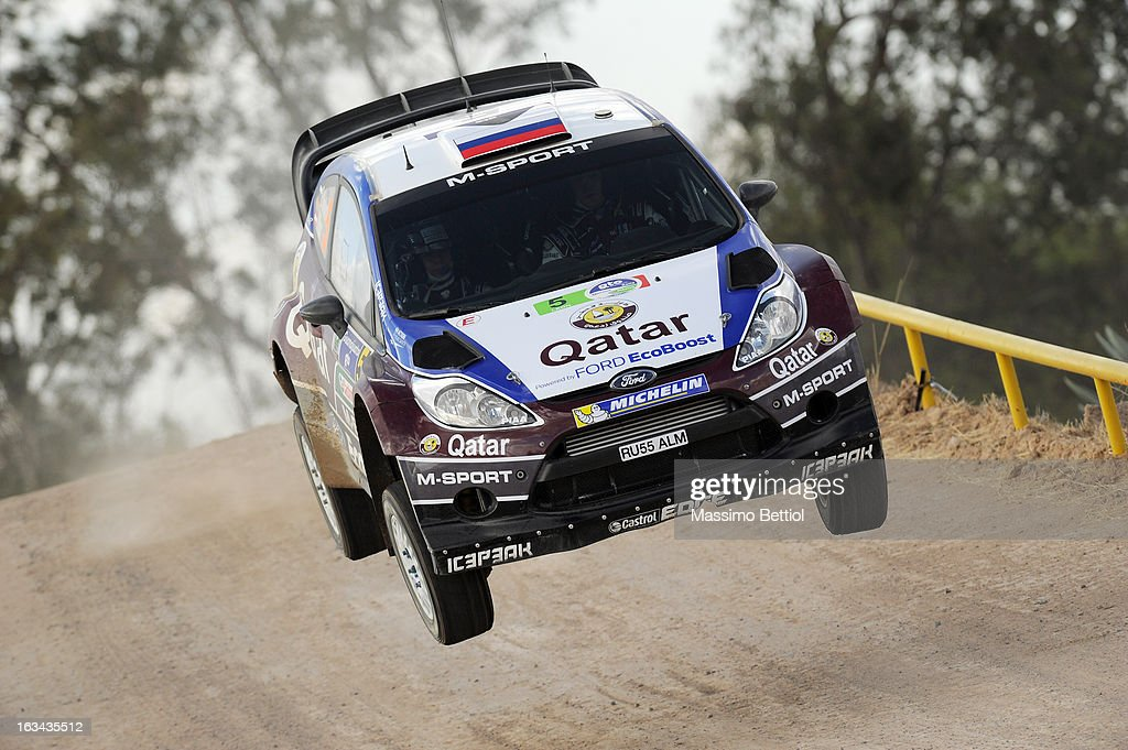 Evgeny Novikov of Russia and Ilka Minor of Austria compete in their Qatar M-Sport WRT Ford Fiesta RS WRC during Day Two of the WRC Mexico on March 09, 2013 in Leon, Mexico.