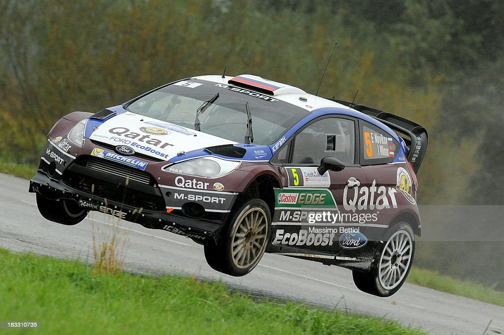 Evgeny Novikov of Russia and Ilka Minor of Austria compete in their M-Sport Qatar WRT Ford Fiesta RS WRC during Day Three of the WRC France on October 6, 2013 in Strasbourg, France.