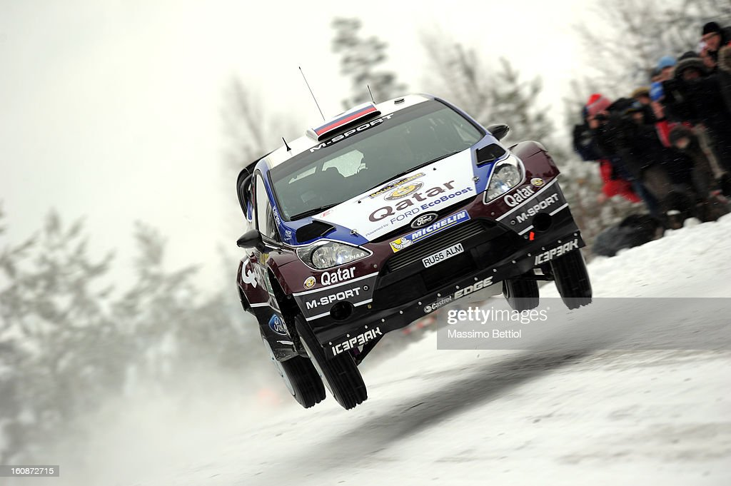 Evgeny Novikov of Russia and Ilka Minor of Austrian compete in their Qatar M-Sport WRT Ford Fiesta RS WRC during the Shakedown of the WRC Sweden on February 07, 2013 in Karlstad, Sweden.
