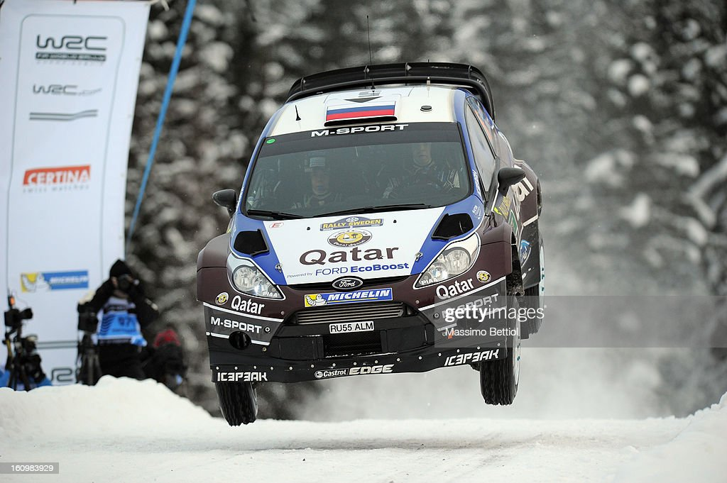 Evgeny Novikov of Russia and Ilka Minor of Austrian compete in their Qatar M-Sport WRT Ford Fiesta RS WRC during Day One of the WRC Sweden on February 08 , 2013 in Karlstad , Sweden.