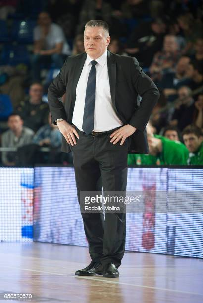 Evgeny Pashutin Head Coach of Unics Kazan in action during the 2016/2017 Turkish Airlines EuroLeague Regular Season Round 25 game between FC...
