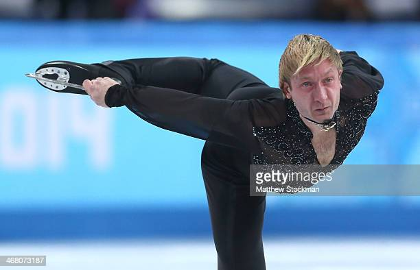 Evgeny Plyushchenko of Russia competes in the Men's Figure Skating Men's Free Skate during day two of the Sochi 2014 Winter Olympics at Iceberg...