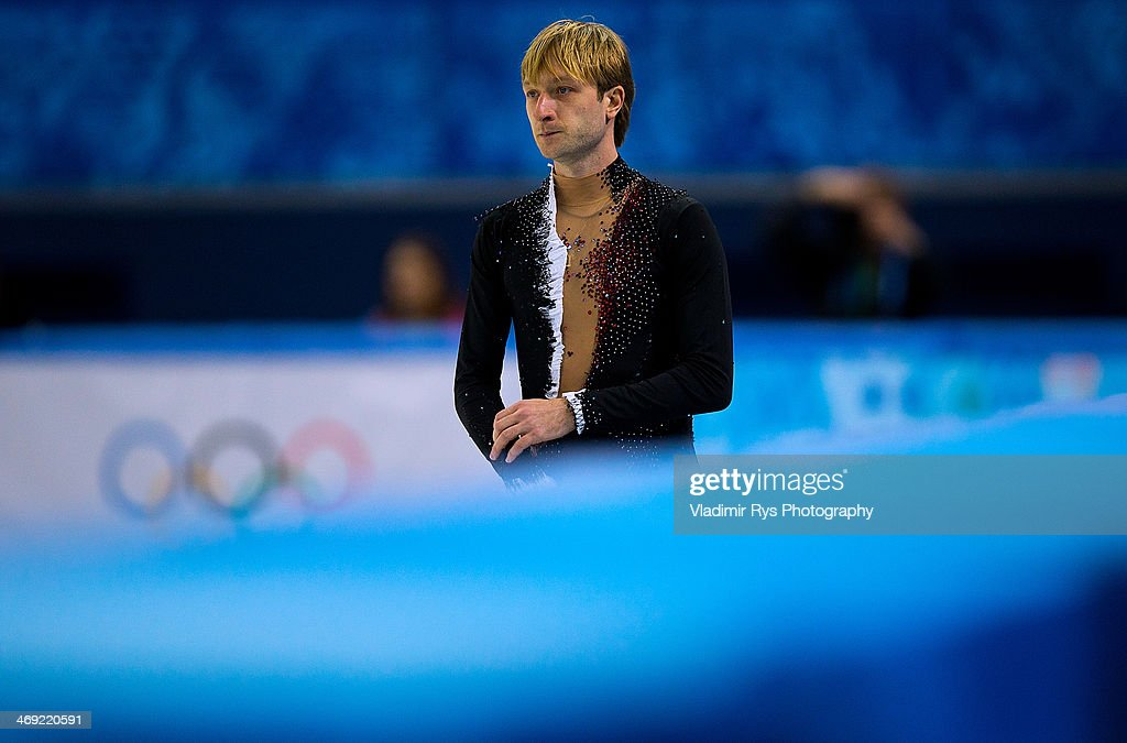Evgeny Plyushchenko of Russia is seen at at a warm up during the Men's Figure Skating Short Program on day 6 of the Sochi 2014 Winter Olympics at the at Iceberg Skating Palace on February 13, 2014 in Sochi, Russia.