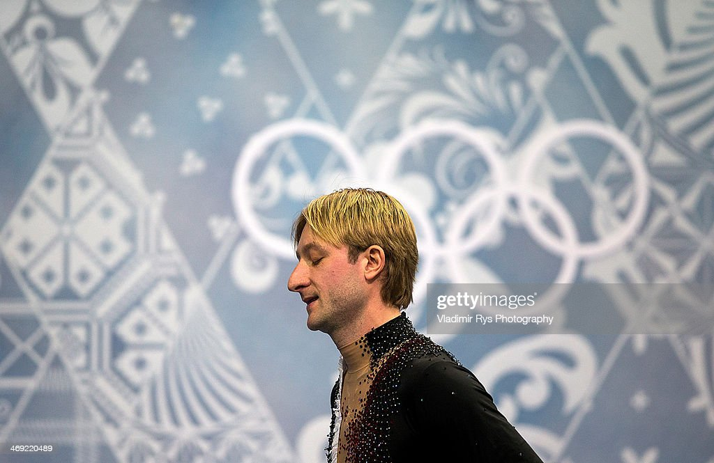 Evgeny Plyushchenko of Russia leaves the stadium after his injury at a warm up during the Men's Figure Skating Short Program on day 6 of the Sochi 2014 Winter Olympics at the at Iceberg Skating Palace on February 13, 2014 in Sochi, Russia.