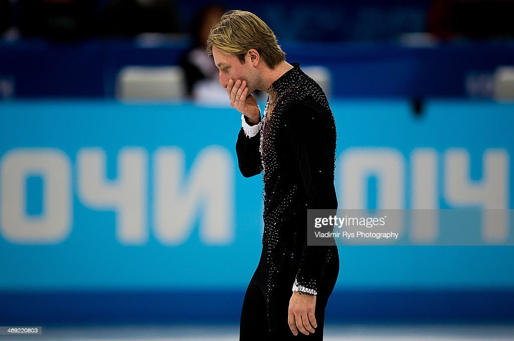 Evgeny Plyushchenko of Russia reacts after his injury at a warm up during the Men's Figure Skating Short Program on day 6 of the Sochi 2014 Winter Olympics at the at Iceberg Skating Palace on February 13, 2014 in Sochi, Russia.
