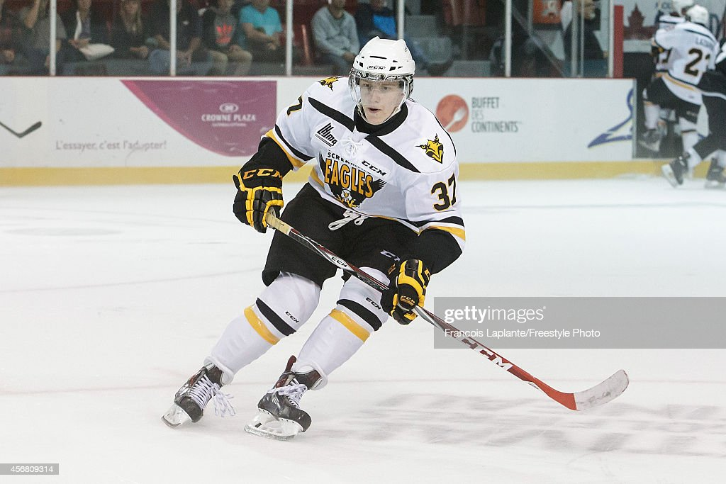 <a gi-track='captionPersonalityLinkClicked' href=/galleries/search?phrase=Evgeny+Svechnikov&family=editorial&specificpeople=8806917 ng-click='$event.stopPropagation()'>Evgeny Svechnikov</a> #37 of Cape Breton Screaming Eagles skates against the Gatineau Olympiques on September 25, 2014 at Robert Guertin Arena in Gatineau, Quebec, Canada.