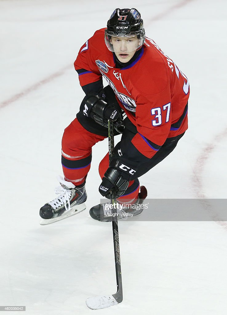 <a gi-track='captionPersonalityLinkClicked' href=/galleries/search?phrase=Evgeny+Svechnikov&family=editorial&specificpeople=8806917 ng-click='$event.stopPropagation()'>Evgeny Svechnikov</a> #37 of Team Cherry skates during the 2015 BMO CHL/NHL Top Prospects Game against Team Orr at the Meridian Centre on January 22, 2015 in St Catharines, Ontario, Canada.