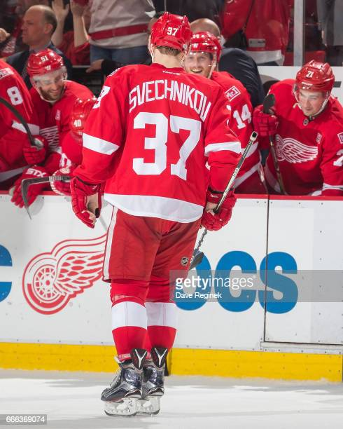Evgeny Svechnikov of the Detroit Red Wings celebrates his shootout overtime goal during an NHL game against the Ottawa Senators at Joe Louis Arena on...