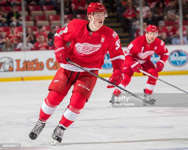 Evgeny Svechnikov of the Detroit Red Wings follows the play against the Ottawa Senators during an NHL game at Joe Louis Arena on April 3 2017 in...