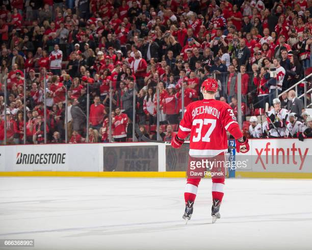 Evgeny Svechnikov of the Detroit Red Wings get ready to skate in for a shootout attempt against the Ottawa Senators during an NHL game at Joe Louis...