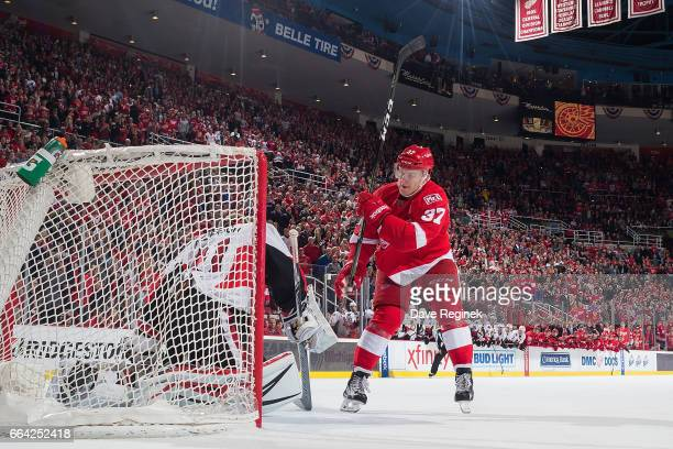Evgeny Svechnikov of the Detroit Red Wings scores the game winning shootout overtime goal on Craig Anderson of the Ottawa Senators during an NHL game...