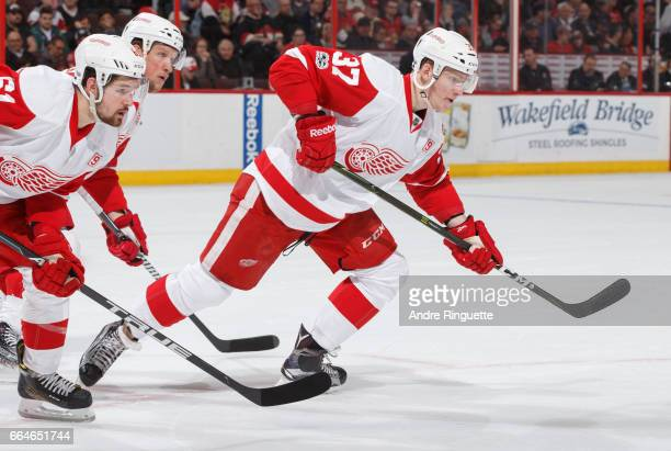 Evgeny Svechnikov of the Detroit Red Wings skates against the Ottawa Senators at Canadian Tire Centre on April 4 2017 in Ottawa Ontario Canada