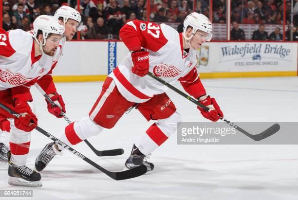 Evgeny Svechnikov of the Detroit Red Wings skates against the Ottawa Senators at Canadian Tire Centre on April 4 2017 in Ottawa Ontario Canada