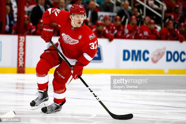 Evgeny Svechnikov of the Detroit Red Wings skates in his first NHL game while playing the Ottawa Senators at Joe Louis Arena on April 3 2017 in...