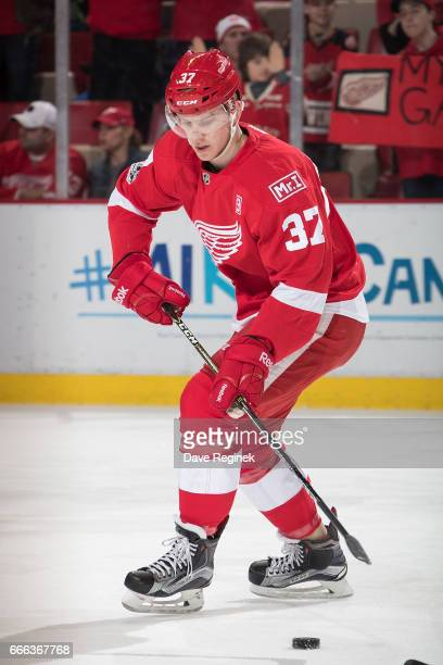 Evgeny Svechnikov of the Detroit Red Wings skates in warmups prior to an NHL game against the Ottawa Senators at Joe Louis Arena on April 3 2017 in...