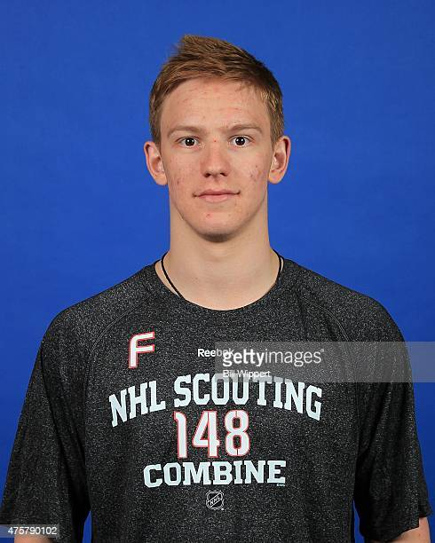 Evgeny Svechnikov poses for a headshot at the NHL Combine at HarborCenter on June 3 2015 in Buffalo New York