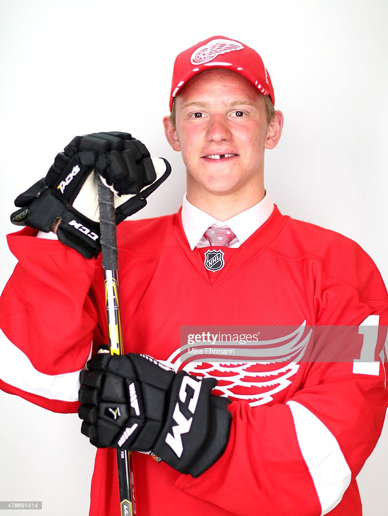 <a gi-track='captionPersonalityLinkClicked' href=/galleries/search?phrase=Evgeny+Svechnikov&family=editorial&specificpeople=8806917 ng-click='$event.stopPropagation()'>Evgeny Svechnikov</a> poses for a portrait after being selected 19th overall by the Detroit Red Wings during the 2015 NHL Draft at BB&T Center on June 26, 2015 in Sunrise, Florida.