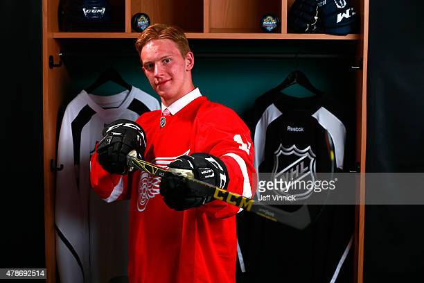 Evgeny Svechnikov poses for a portrait after being selected 19th overall by the Detroit Red Wings during Round One of the 2015 NHL Draft at BBT...