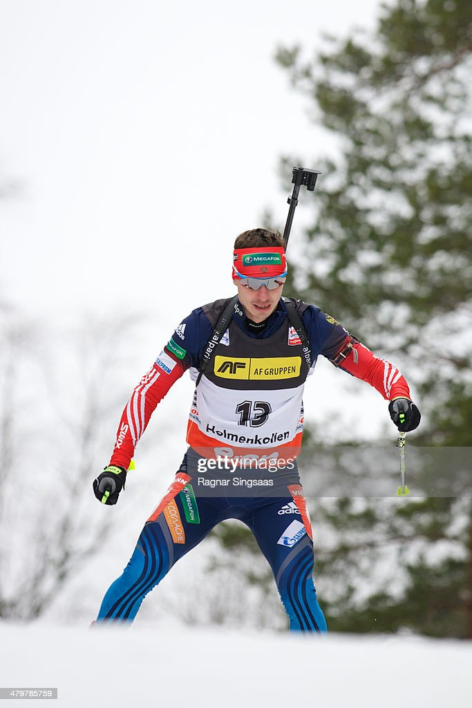 Evgeny Ustyugov of Russia competes during the men's 10 kilometer sprint race of the E.ON IBU World Cup Biathlon on March 20, 2014 in Oslo, Norway.