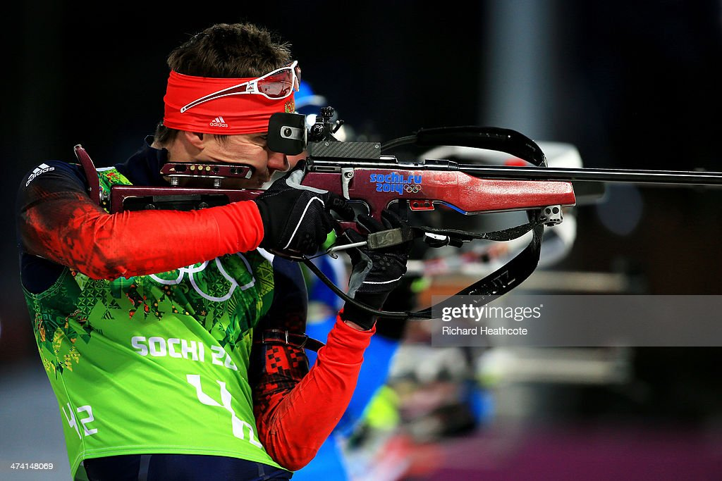 Evgeny Ustyugov of Russia competes during the Men's 4 x 7.5 km Relay during day 15 of the Sochi 2014 Winter Olympics at Laura Cross-country Ski & Biathlon Center on February 22, 2014 in Sochi, Russia.