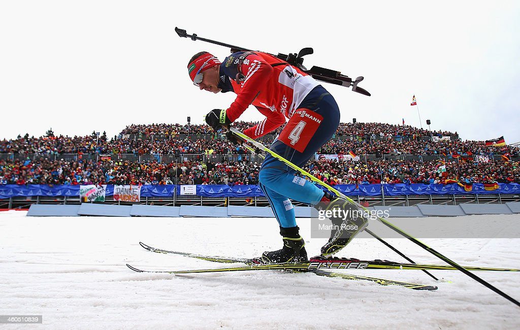Evgeny Ustyugov of Russia competes in the men's 12.5km pursuit event during the IBU Biathlon World Cup on January 4, 2014 in Oberhof, Germany.