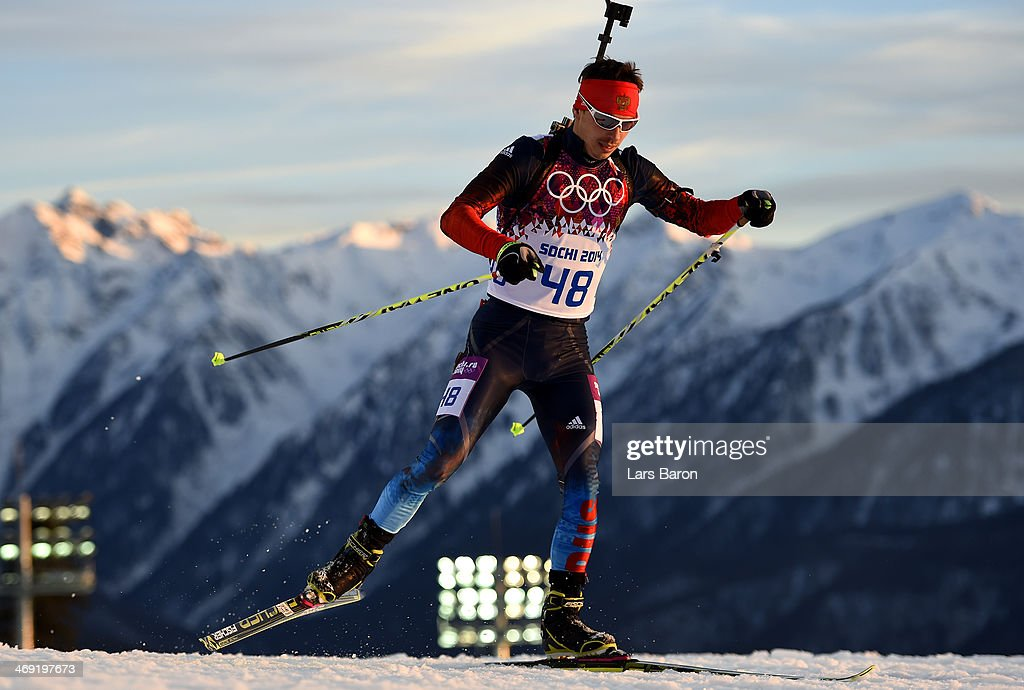 Evgeny Ustyugov of Russia competes in the Men's Individual 20 km during day six of the Sochi 2014 Winter Olympics at Laura Cross-country Ski & Biathlon Center on February 13, 2014 in Sochi, Russia.