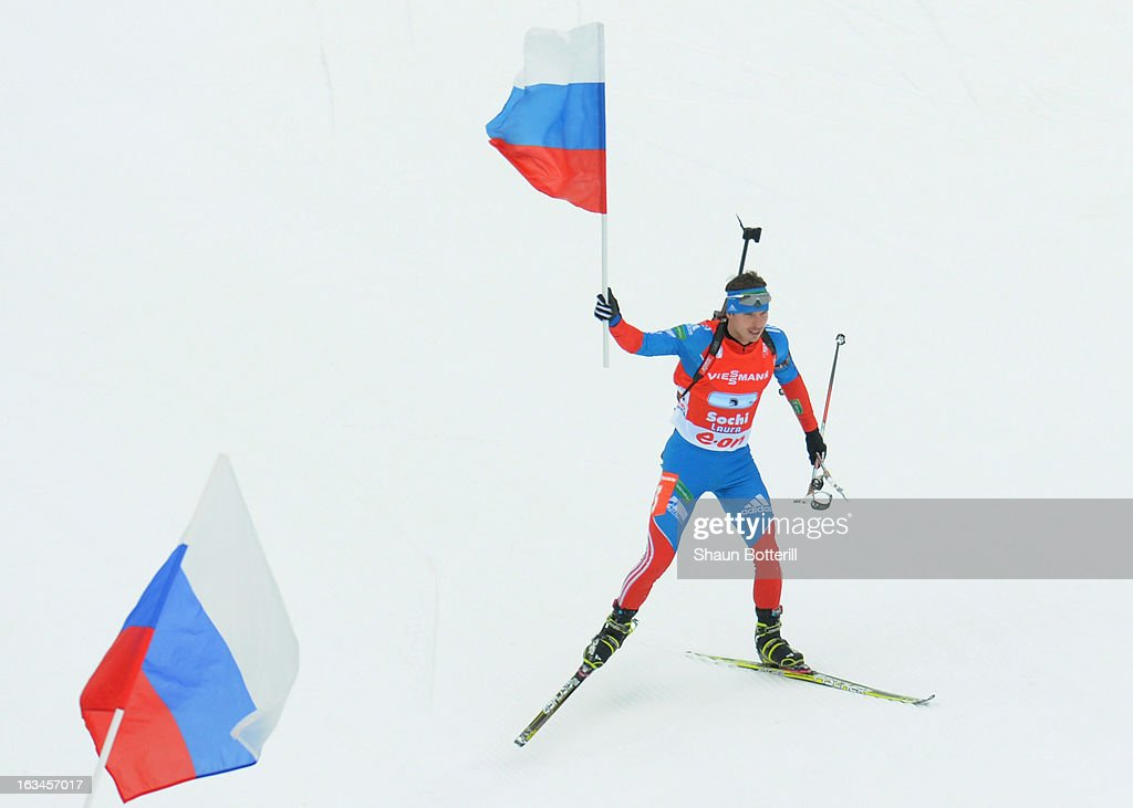 Evgeny Ustyugov of Russia finishes in 1st place in the Men's 4 x 7.5 km Relay event at theBiathlon & Ski Complex on March 10, 2013 in Sochi, Russia.