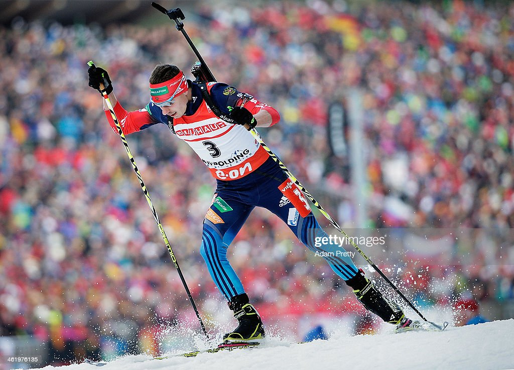 Evgeny Ustyugov of Russia in action during the mens 12.5km pursuit on day five of the E.On IBU World Cup Biathlon on January 12, 2014 in Ruhpolding, Germany.