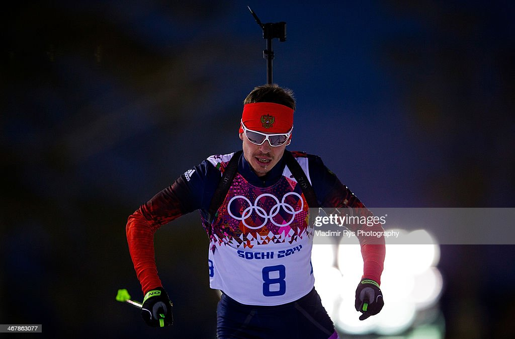 Evgeny Ustyugov of Russia in the Men's 10km Sprint during day one of the Sochi 2014 Winter Olympics at Laura Cross-country Ski & Biathlon Center on February 08, 2014 in Sochi, Russia.