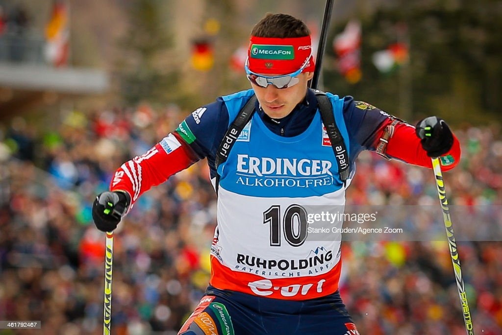 Evgeny Ustyugov of Russia takes 3rd place during the IBU Biathlon World Cup Men's 20km on January 11, 2014 in Ruhpolding, Germany.