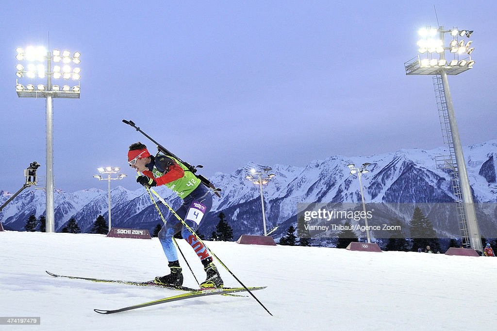 Evgeny Ustyugov of Russia wins gold medal during the Biathlon Men's Relay at the Laura Cross-country Ski & Biathlon Center on February 22, 2014 in Sochi, Russia.