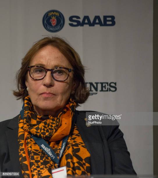 Evi Eisenhardt head judge for the team dressage competition of the 2017 FEI European Championships in Gothenburg Sweden meets the press at Ullevi...