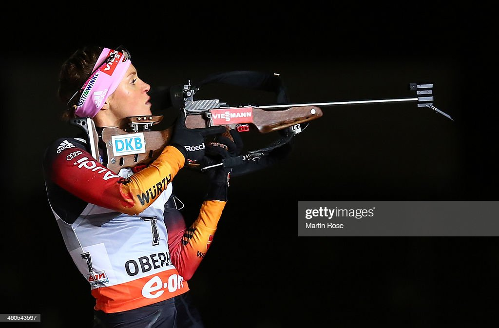 Evi Sachenbacher Stehle of Germany competes in the women's 10km pursuit event during the IBU Biathlon World Cupon January 4, 2014 in Oberhof, Germany.