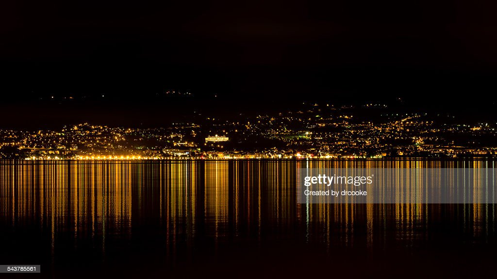 Evian at night from Laussanne
